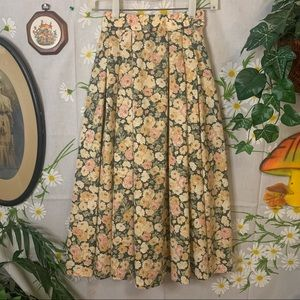 Laura Ashley green pink floral cottagecore skirt